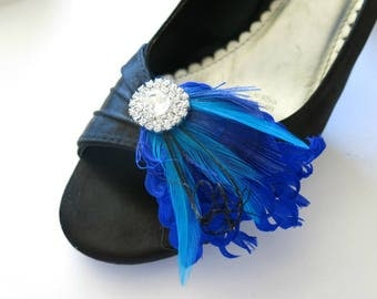 Wedding Shoe Clips, Bridal Shoe Clips, Feather Shoe Clips, Blue Shoe Clips, Rhinestone Shoe Clips, Wedding Shoes, Something Blue