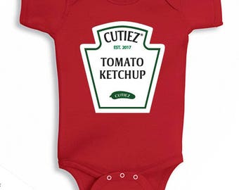 Ketchup One PIece Baby Bodysuit Baby Shower Gift Funny Geek Nerd Cute Fun Food Boy Girl Clothes