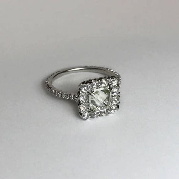 Raw Diamond Octahedron Halo Engagement Ring