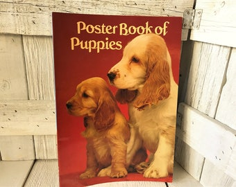Vintage Poster Book of Pupplies glossy retro color photos 1982- free shipping US