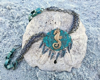 Seahorse Necklace- Mermaid Necklace- Mermaid Jewelry- Mermaid Costume- Seahorse Jewelry- Boho Necklace- Boho Statement Necklace- Boho Chic