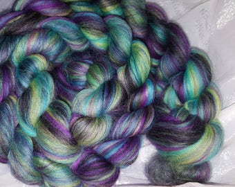 Maleficent Merino wool spinning fiber 4oz purple black green teal