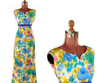 Vintage 1960'  Bright Silk Blend Abstract Watercolor Floral Empire Waist Maxi Dress L