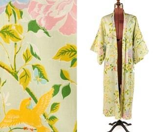 Vintage 1970's Pale Sage Green Japanese Cotton Rose Floral + Bird Print Summer Kimono Duster