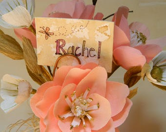 Nostalgic Rose bouquet - Pink glass vase - hand cut paper flowers with personalization