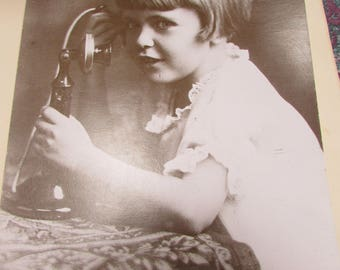"""Vintage Photo of Girl on Candlestick Phone 8""""X 10"""""""