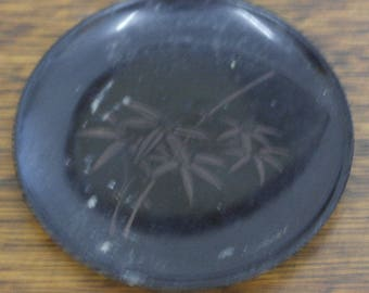antique small early black plastic small plate tray