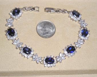 Vintage CZ Rhinestone Bracelet With Oval Man Made Sapphires Lovely 1970's Jewelry 11039