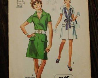 25%off Sizzlin Summer Sal Simplicity 8874 1970s 70s Jiffy Mod ShirtDress Shirt Dress Vintage Sewing Pattern Size 14 Bust 36