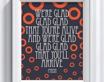 Phish Lyrics - Glide - 11x14 - poster print
