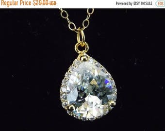SALE Wedding Necklace, Wedding Jewelry, Bridal Necklace, Bridal Jewelry, Clear, Glass, Cubic Zirconia, Gold Filled, Crystal, Bridesmaid