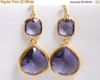 SALE Purple Earrings, Gold Earrings, Tanzanite, Amethyst, Wedding Jewelry, Bridesmaid Earrings, Bridal Jewelry, Bridesmaid Gifts