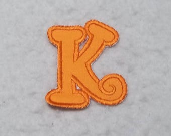 Single 3 inch Upper Case Letter (a - z) (Chunky Curls font) MADE to ORDER - Choose COLOR and Letter - fabric Iron on Applique Patch z 6788