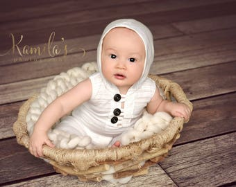 Hoodie Sitter Romper, White 6 Month Old Photo Prop Outfit, MADE TO ORDER