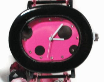 Watch/Black Polka Dots on Pink Face/White Hands/Multi Media Beads/Interchangeable Stretchy Wash Band/Black/Silver/Pink Polymer Clay