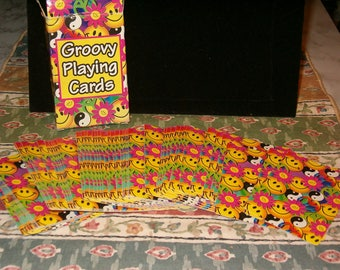 Groovy Playing Cards, 52 Cards Plus 2 Jokers, Really Nice Clean Cards, Rip on Box, 1960's
