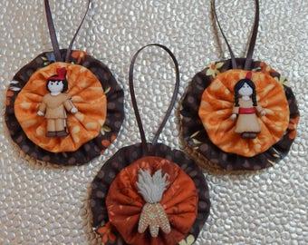 Little Indian Thanksgiving ornament set - set of 3