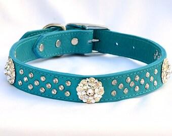 "Turquoise Leather Dog Collar,  Leather Dog Collar, Jeweled dog collar, Made in USA, Fancy Dog Collar, Collar, Sizes 17""- 20"