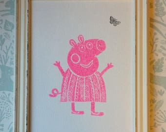 Lino Print -Limited Edition- A4 Linocut -Titled Pinky Peppa -relief print - pig print- linoleum print on acid free paper.