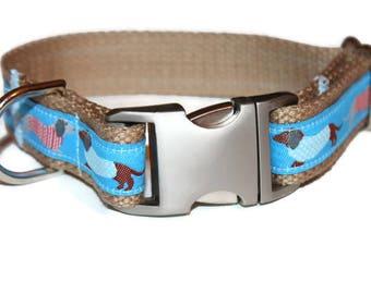 Weiner Dog Collar Matching Leash Dachshund Leash and Collar Set Blue Dog Collar Dachshund Pet Collar Doxie Collar Girl Pet Collar