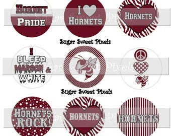 INSTANT DOWNLOAD Maroon White Grey  Hornets School Mascot 1 inch circle Bottlecap Images