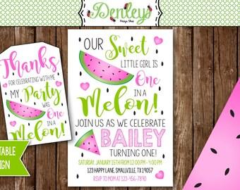 Watermelon Invitation, Watermelon Party, One in a Melon, Watermelon Theme, Fruit Invitation, Summer Time (WA02)