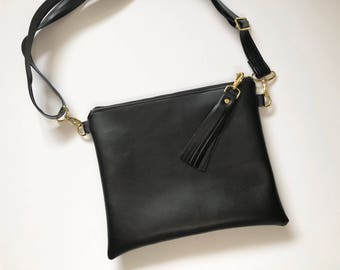 Black faux leather hipster - crossbody purse
