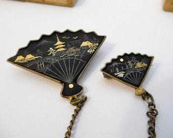 Vintage 24K DAMASCENE Jewelry Scatter Pin Brooch Set w/Chain & Original Wood Box and Insert - JAPANESE