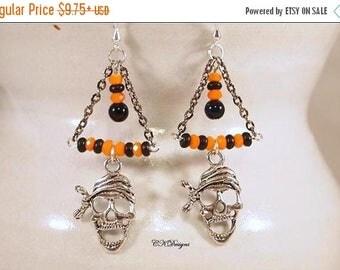 CIJ Pirate Halloween Earrings, Day Of The Dead Earrings, Black and Orange Earrings, Beaded Dangle Pierce Earrings. CKDesings.us
