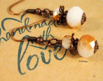 White and Copper Beaded Earrings, Copper  Earrings, Vintage Inspired Drop Pierced or Clip-on Earrings. OOAK Handmade Earrings. CKDesigns.US
