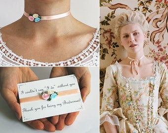 49 Colors Available, Bridesmaid Chokers, Marie Antoinette Jewelry, Will you be my Bridesmaid Proposal, Satin Necklace, Rose Necklace, Gift