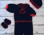 Crochet Baby Boy Sailor Outfit Knit Navy Blue Sailor Romper Set Newborn Sailor Set Blue and Red Sailor set Sailor Baby set Baby Boy set