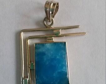 Turquoise Smithsonite gemstone sterling silver pendant