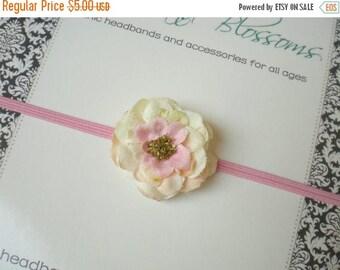 SALE Ivory Petite Flower on Skinny Pink Elastic Headband - Newborn Baby Toddler Girl - Photo Prop