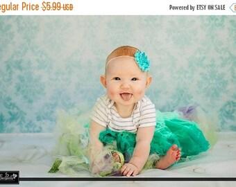 SALE Turquoise Shabby Frayed Chiffon Flower Rosette on Skinny Elastic Headband - Newborn Baby Toddler Girl - Photo Prop