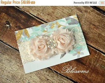 SALE Cream Chiffon Flower Rhinestone Pearl Lace Headband - Newborn Baby - Wedding Flower Girl - Photo Prop - Little Girl Headband - Blush