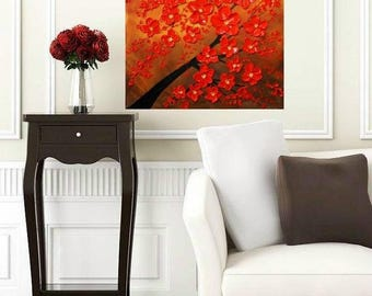 SALE Oil Floral painting Abstract Original Modern 20 x 20 palette knife Red Blossom Tree Impasto oil  painting by Nicolette Vaughan Horner