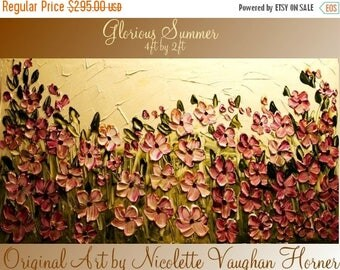 SALE Abstract ORIGINAL 4ft x 2ft   gallery wrap canvas-Contemporary impasto  abstract  floral painting by Nicolette Vaughan Horner