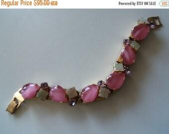 Now On Sale Vintage Pink Rhinestone Bracelet 1950's Collectible Mad Men Mod Mid Century Hollywood Regency Rockabilly Jewelry