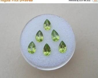 ON SALE 6 Peridot Pear Gems 6x4mm each