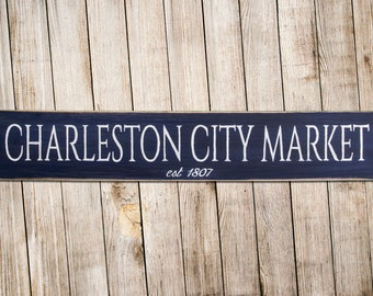 Charleston City Market Rustic Wood Sign Art 7x36