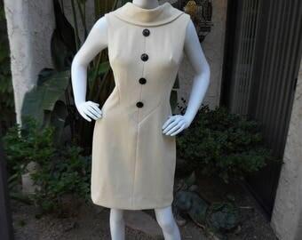 Vintage 1970's Lilli Diamond Beige Dress - Size 12