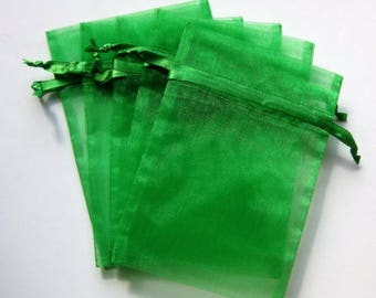 Set of 10 (6x9) Emerald Organza Bags