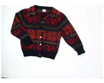Vintage 80s Para Black Orange Floral Mohair Blend Cardigan UK 12 14 US 10 12