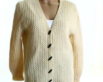 Vintage 80s Cream Wool Toggle Chunky Knit Cardigan UK 14 US 12