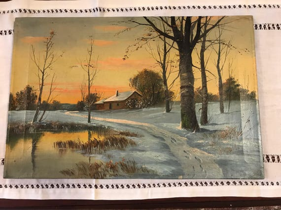 Vintage Oil on Canvas Painting - Indiana Farm Artist unknown - winter sunset outdoors scene