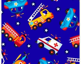 20 % off thru 7/4 BE MY HERO Henry Glass  quilters cotton fabric by the Half yard 1018-77 truck fire rescue police helicopter on blue