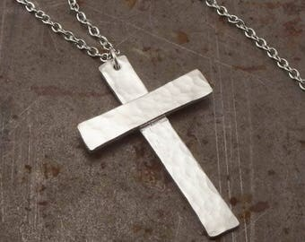 Traditional Christian Cross Large Sterling Silver Pendant Necklace Handmade Jewelry for Men or Women