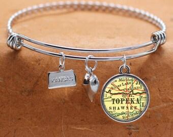 Topeka KS Map Charm Bracelet State of Kansas Bangle Cuff Bracelet Vintage Map Jewelry Stainless Steel Bracelet Gifts For Her