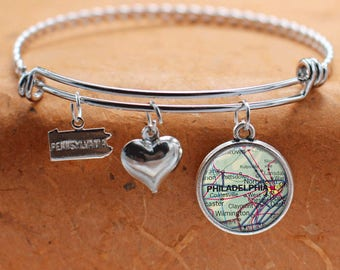 Philadelphia PA Map Charm Bracelet State of Pennsylvania Bangle Cuff Bracelet Map Jewelry Stainless Steel Bracelet